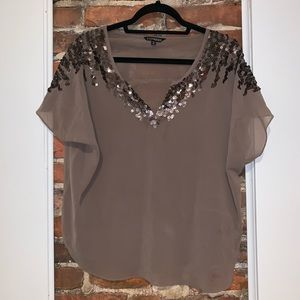 Express Mesh Blouse with Sequins - Medium